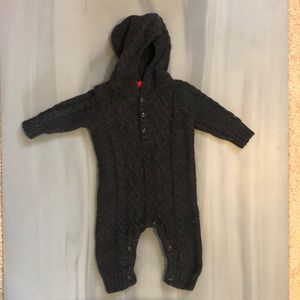 Grey Cable Knit Sweater Hooded Coveralls